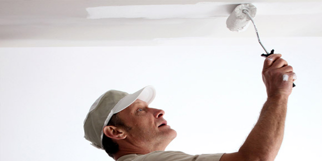 how to paint a ceiling the easy way by using an airless spray gun. Black Bedroom Furniture Sets. Home Design Ideas